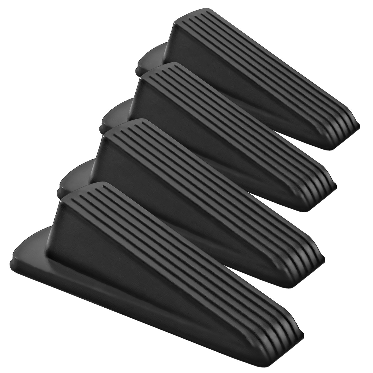Home Premium Rubber Door Stop - Large Door Stopper Wedge, Multi Surface Design (4 Pack, Black) by HOME PREMIUM