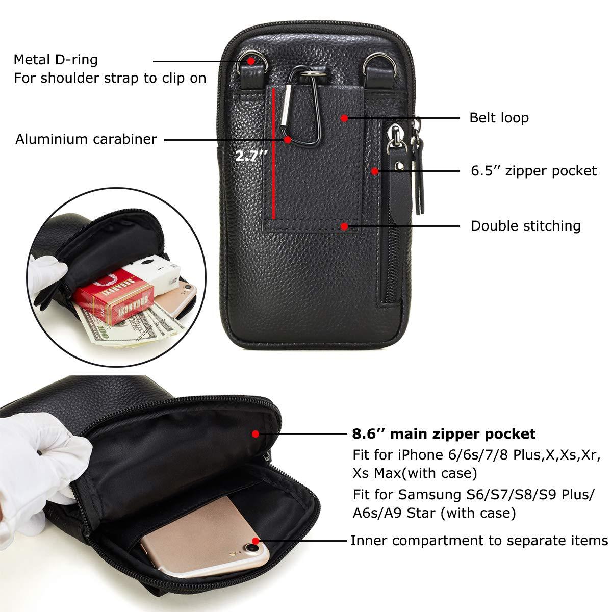 2a88e6dec0f Amazon.com  VIIGER Leather Small Crossbody Travel Purse Crossbody Bag Large  Cell Phone Pouch Belt Holster Mini Shoulder Bag Belt Pouches for Men Belt  Loop ...