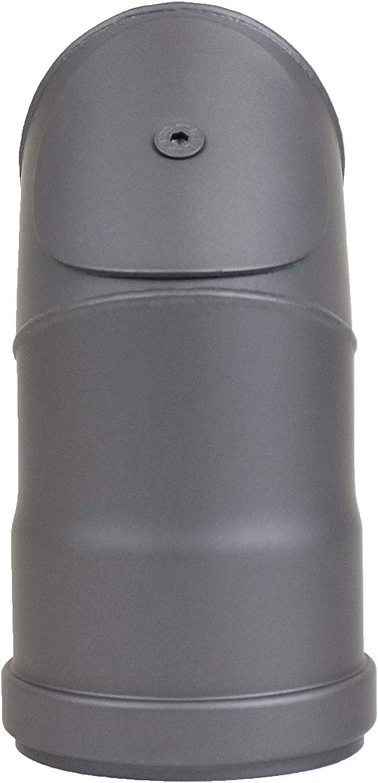 LANZZAS Arco de pellets 90/°, con cierre de limpieza, di/ámetro DN /Ø 80 mm, en negro met/álico y gris fundido, para estufas de pellets, Gris