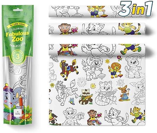 Amazon.com: Juego de 3 manteles para colorear para niños ...