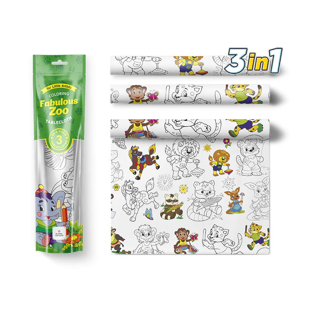 Kids Coloring Tablecloth 3pc Activity Set Zoo Animals - 3 in 1 Big Square Color In Draw On Table Cloths for Children