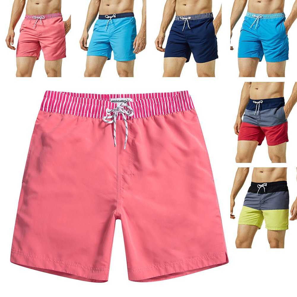 MaaMgic Mens Quick Dry Solid Swim Trunks with Mesh Lining Swimwear Bathing Suits,Red-glm005,Medium by MaaMgic