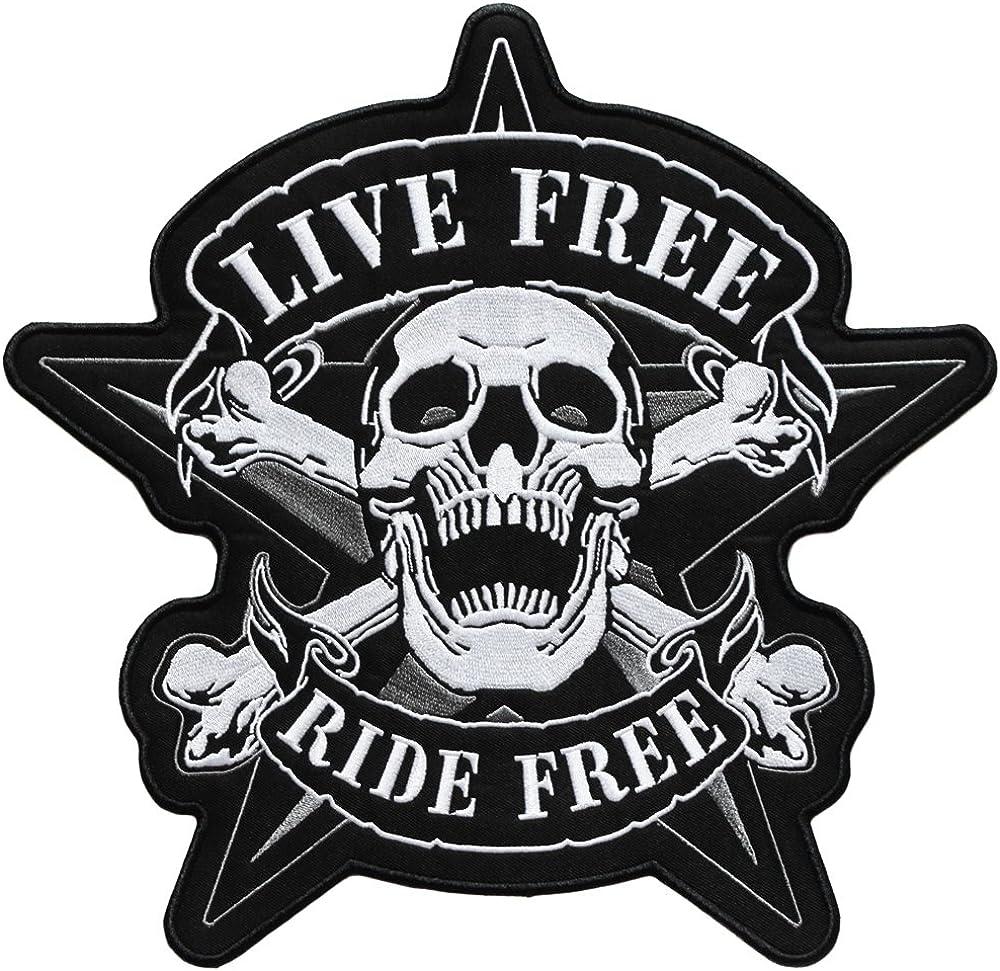 topt mili ecusson route 66 biker motard moto tete de mort thermocollant grand format 29x29cm patche badge