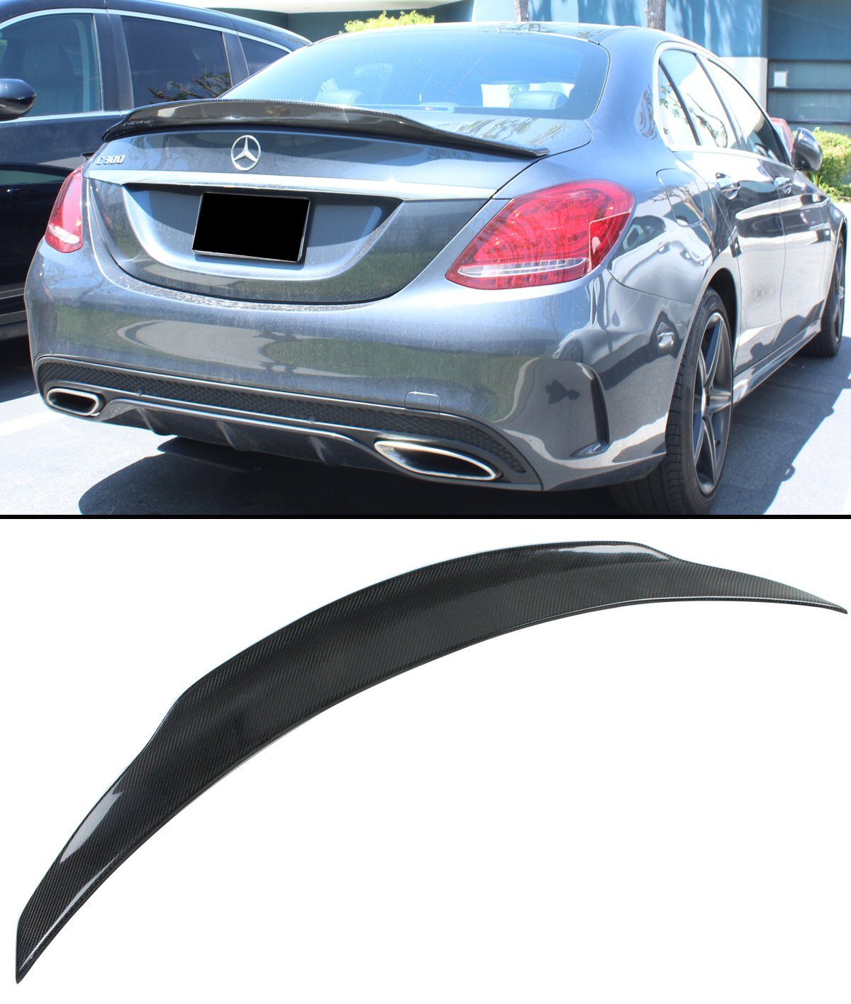 Cuztom Tuning Fits for 2015-2018 Mercedes Benz W205 C-Class & C63 AMG PS  Highkick Style Carbon Fiber Trunk Spoiler Wing