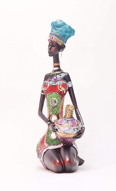 GEMME Statuette Femme Africaine avec Pot Hauteur 41 cm