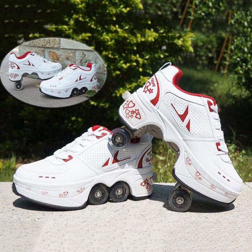 Hombres Mujeres deformación de zapatos 2 en 1 rodillo zapatos del patín de ruedas calza muchachos niños zapatillas de deporte de los zapatos de rodillos Calzado para principiantes unisex regalo,31: Amazon.es: Deportes