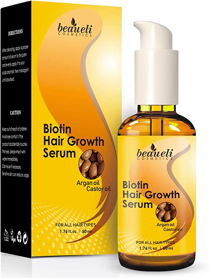 Use this Biotin Hair Growth Serum with Castor Oil, Argan Oil to Prevent Hair Loss