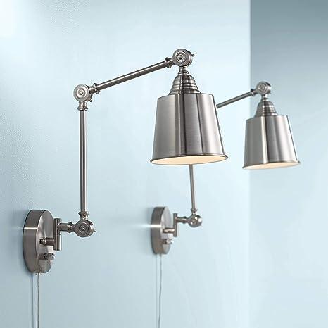 Mendes Modern Wall Lamps Plug In Set Of 2 Brushed Nickel For Bedroom Living Room Reading 360 Lighting