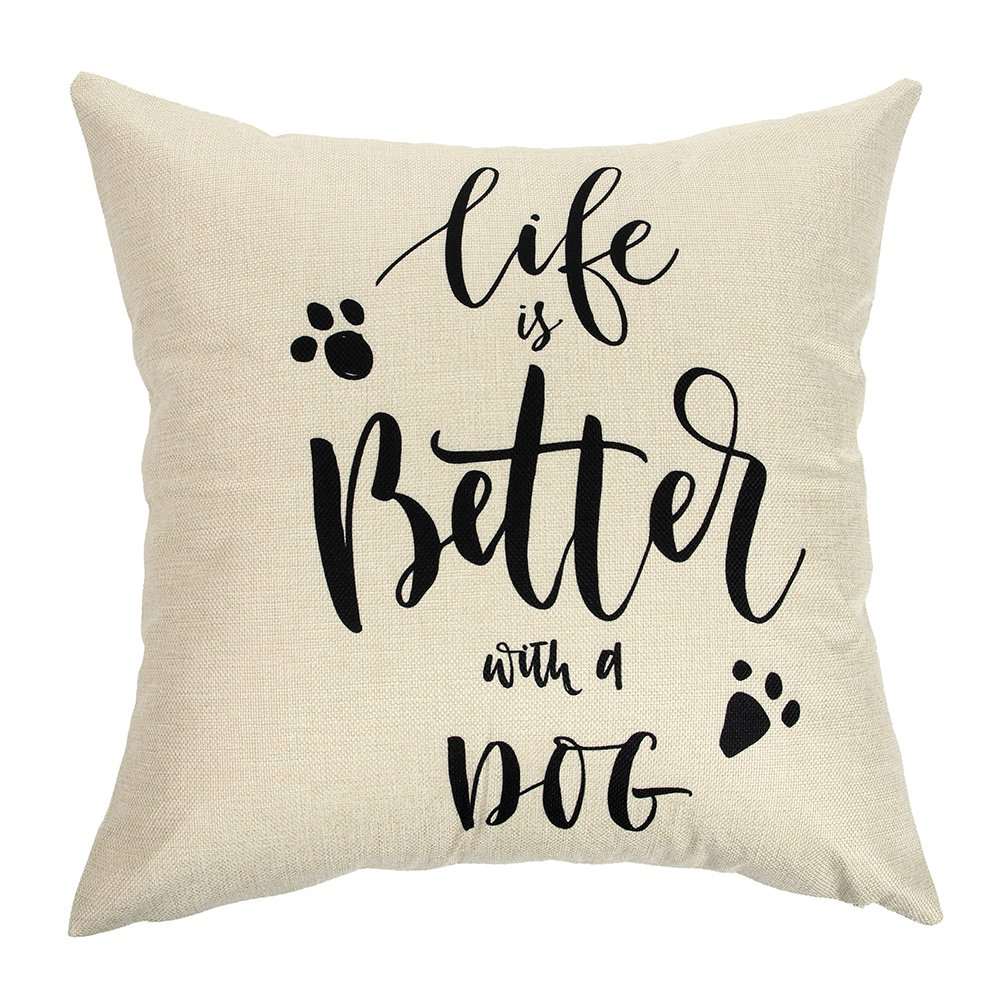 "Ogiselestyle Unique Cushion Cover Life is Better with A Dog Lover Quote Sofa Simple Home Decor Throw Pillow Case Pillow Shams 18"" x 18"""
