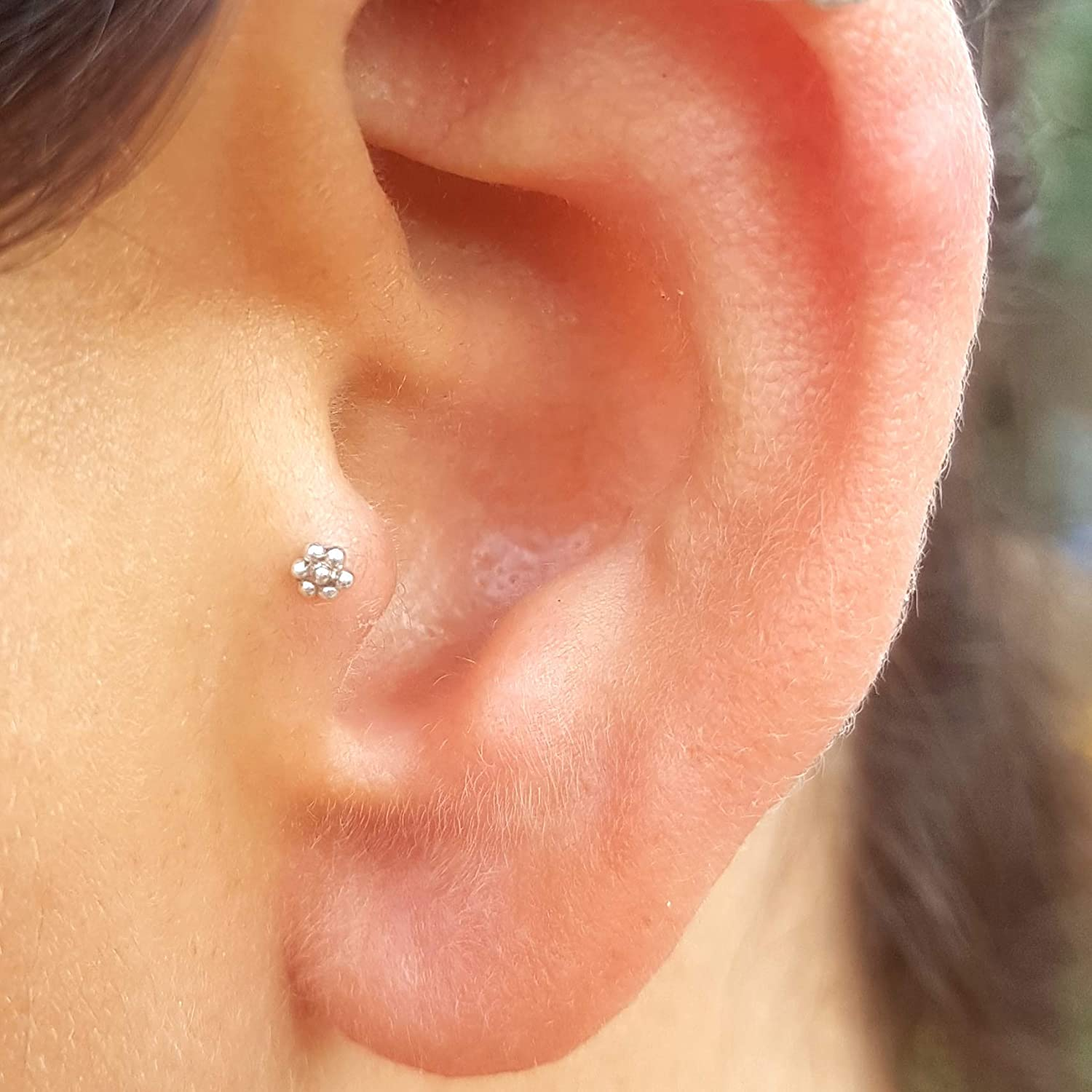 Amazon Com Tragus Earring Sterling Silver Indian Flower Screw
