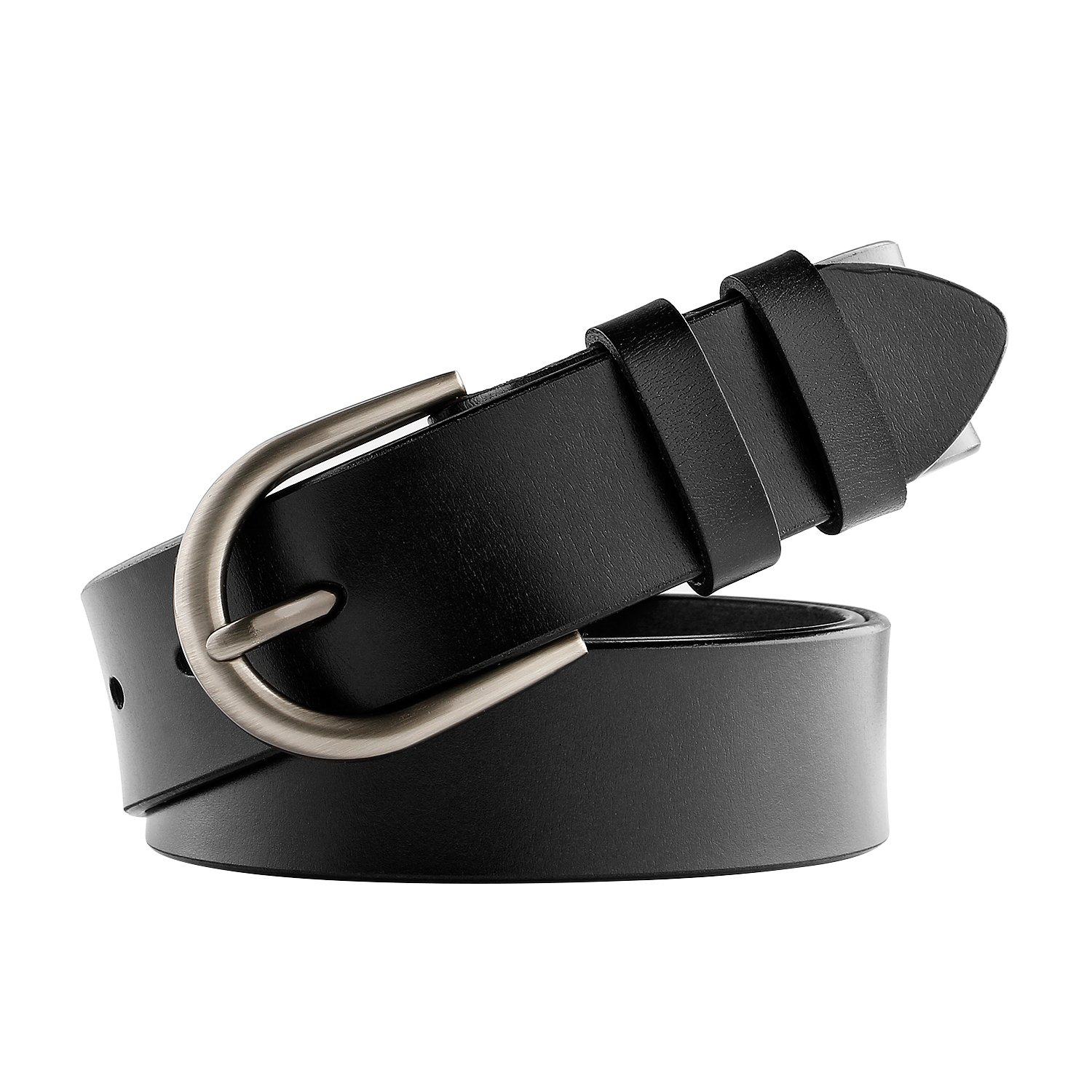 WHIPPY Genuine Leather Belt for Women Waist Belt with Brushed Alloy Buckle 1-black/Silver Buckle Medium