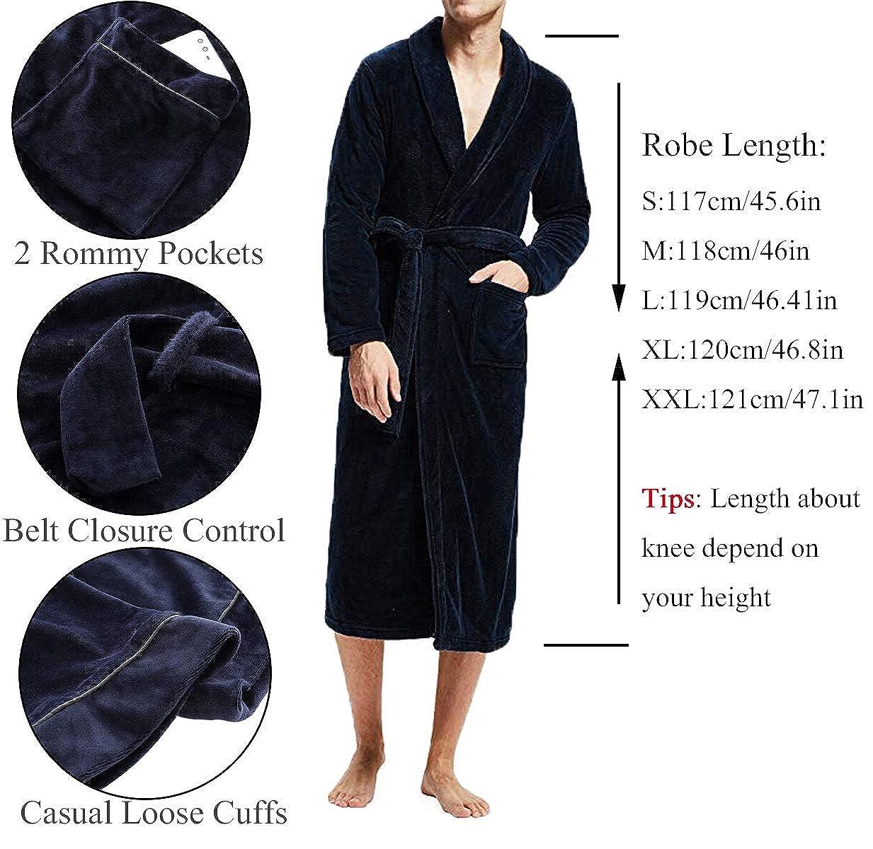 FISOUL Bata Ba/ño para Hombre de Forro Polar Suave Cuello de Felpa Chal Kimono Batas de Lana Hombre