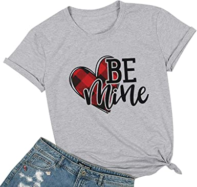 Womens Valentines Day Cute Pattern Printed Short Sleeve Blouses Round Neck Pullover Tops