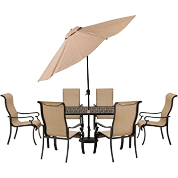 Hanover Brigantine 7 Piece Outdoor Dining Set With Cast Top Table And  Umbrella, 9u0027