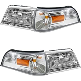 DNA Motoring HL-OH-066-BK-AM Pair Black//Amber Headlight For 06-11 Mercury Grand Marquis