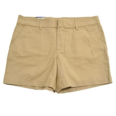 Tommy Hilfiger Womens Twill Solid Khaki, Chino Shorts | Amazon.com
