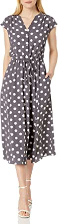 ANNE KLEIN Women's Cap Sleeve Drawstring MIDI Dress