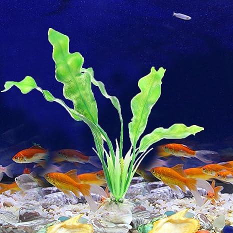 Planta de hierba de plástico para decoración de acuario de pecera, color verde
