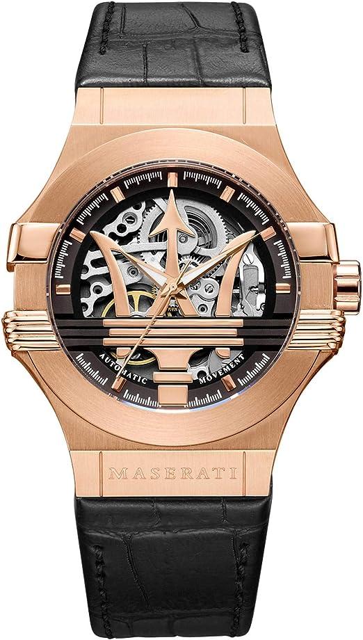 Amazon.com: MASERATI Men's Potenza Stainless Steel Quartz Leather Strap,  Black, 13 Casual Watch (Model: R8821108039): Maserati: Watches