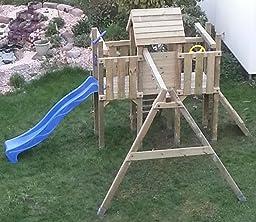 wickey spielturm little robin kletterturm mit schaukel und rutsche holzdach sandkasten blaue. Black Bedroom Furniture Sets. Home Design Ideas
