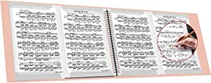 FEIQIAN Folder for Musicians, Sheet Music Folder, Band Folder, Music Stand Accessories,4 Pages Expand,Writable, Spiral-Bound, 10 Sleeves, 40 Pages (Light Pink)…