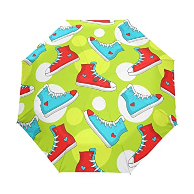 ba76ac280099 Amazon.com  Rain Umbrella Automatic Windproof Foldable Umbrella Vivid Shoes   Clothing