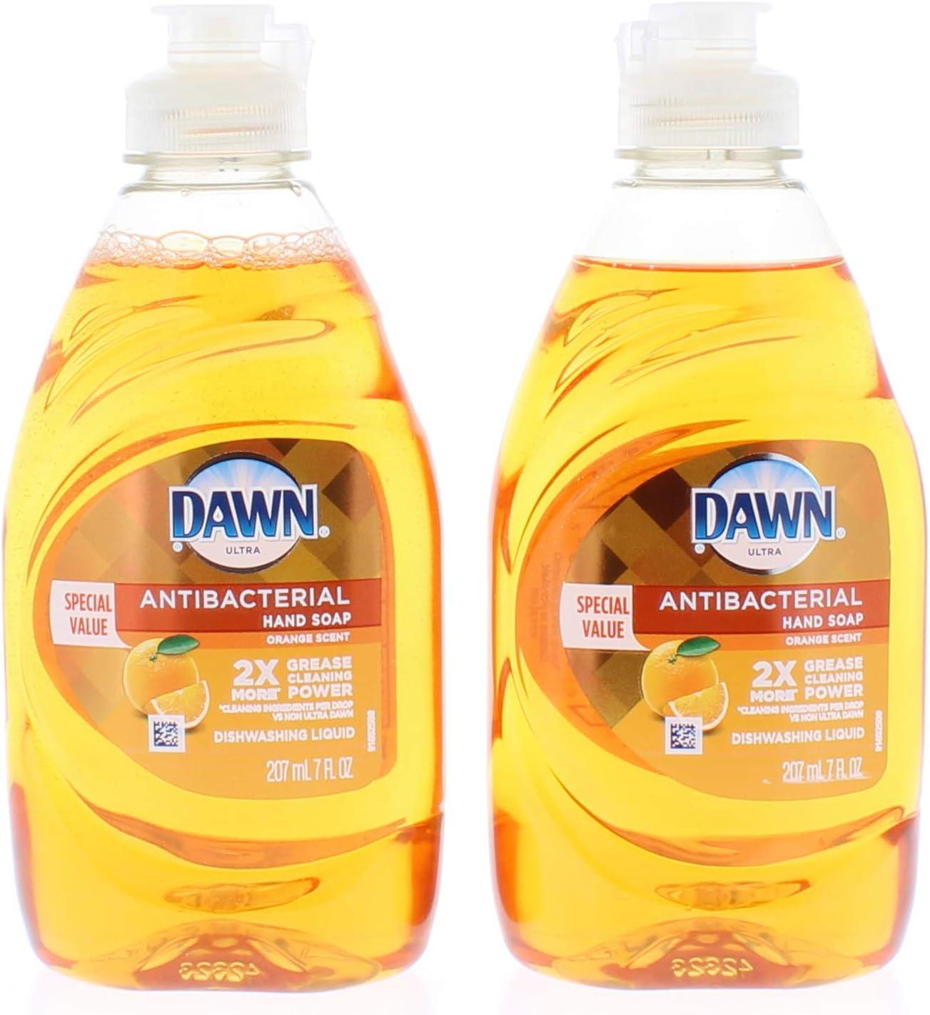 2 Pk. Dawn Ultra Antibacterial Orange Scent Dishwashing Liquid 7oz. (14 Fl. Oz Total)