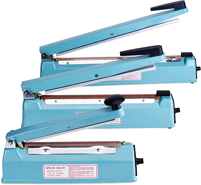 Fuxury 16 inches impulse heat sealer used pure copper transformer,manual bag sealer heat seal closer + 2 Free Replacement KIT (Blue, 16 inches)