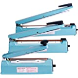 Fuxury 8 Inches Impulse Heat Sealer Used Pure Copper Transformer, Manual Bag Sealer Heat Seal Closer + 2 Free Replacement KIT (Blue, 8 Inches)