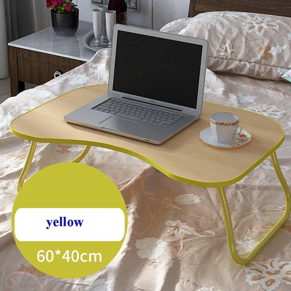 XIA 折り畳みテーブル シンプルなラップトップテーブルレイジーテーブルアークスデスクトップを増やすグリーン、ピンク、白イエロー学生用テーブルドミトリー小型テーブル折り畳み式ベッド用デスクの研究用テーブル 折りたたみテーブル (色 : イエロー いえろ゜) B07DT99HBNイエロー いえろ゜