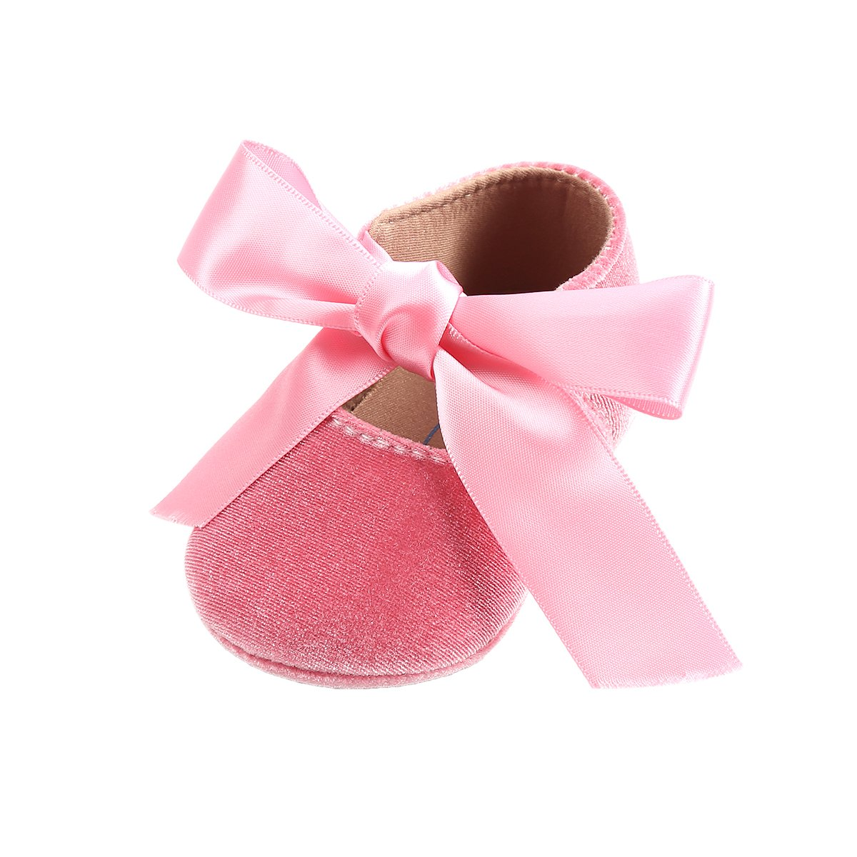 Kuner Baby Girls Lace Bow Mary Jane Princess Shoes No-Slip First Walkers Shoes (11cm(0-6months), Pink-2)