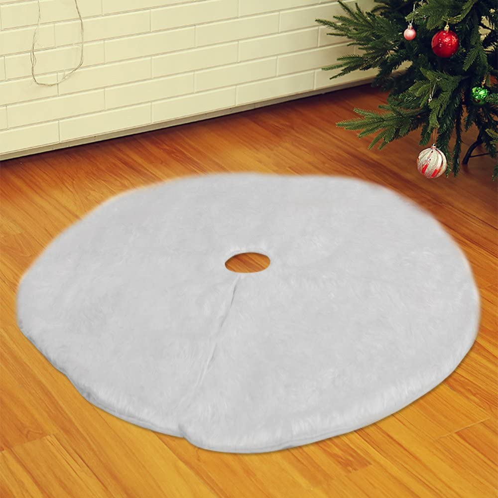 Long Snow Plush Christmas Tree Skirt Base Floor Mat Cover Xmas Party Decor UK