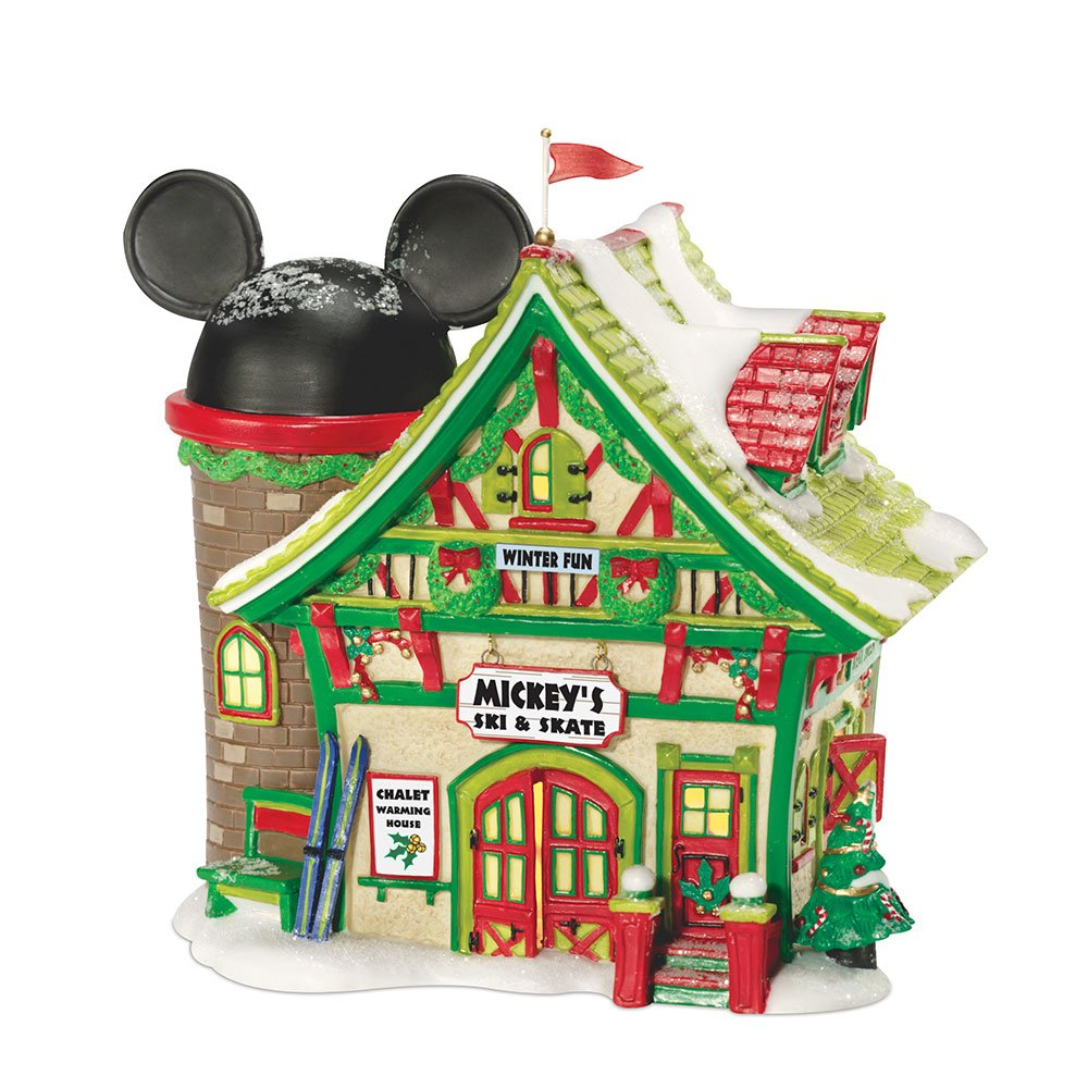Department 56 Disney Village Mickey's Ski Chalet Lit House, 6.5 inch by Department 56