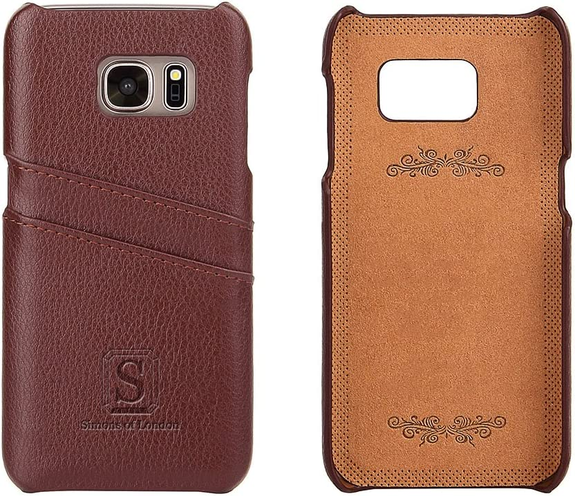 Simons of London Samsung Galaxy S7 Coated Leather Case with Slots for Bank Cards, Ultra Slim Fit Cases