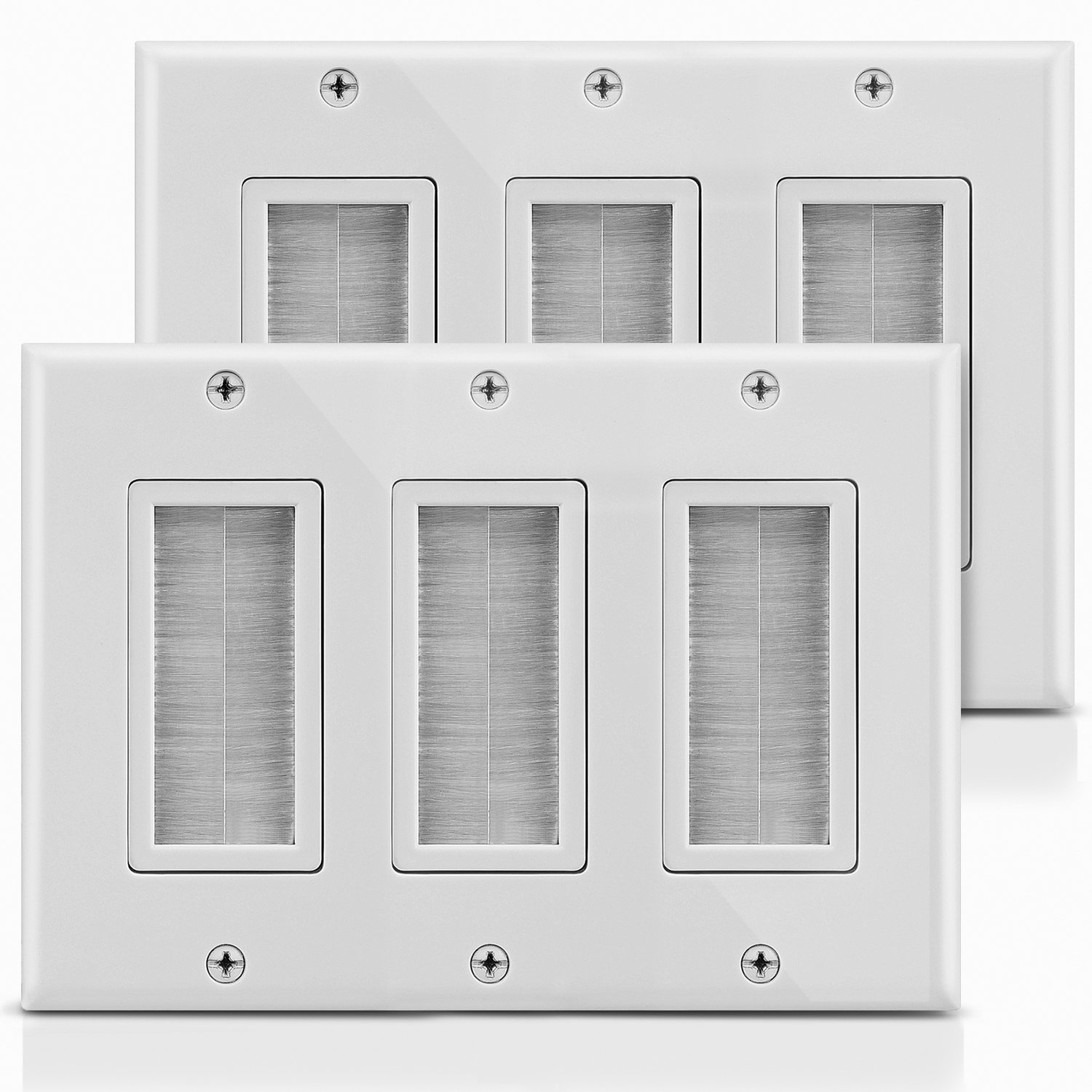 Fosmon 3-Gang Wall Plate (2 PACK), Brush Style Opening Passthrough Low Voltage Cable Plate In-Wall Installation for Speaker Wires, Coaxial Cables, HDMI Cables, or Network/Phone Cables