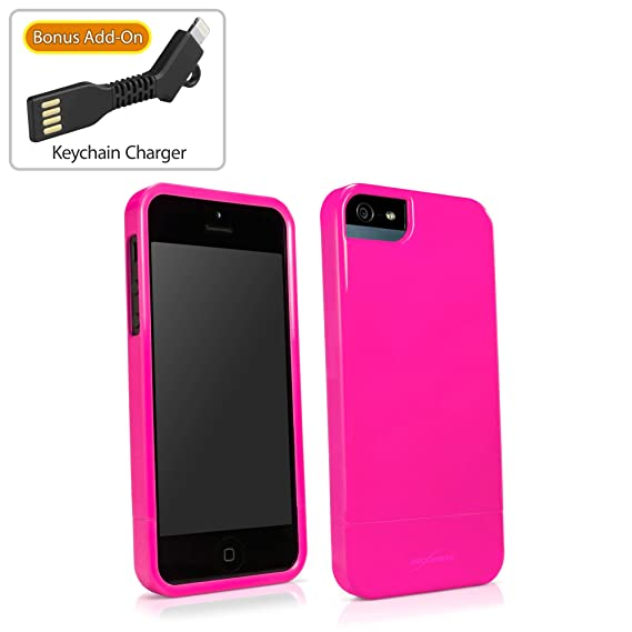 best service bfb00 11a7d iPhone SE Case, BoxWave [Neon Slider Case with BONUS Keychain Charger]  Flexible, Glossy Tough Cover for Apple iPhone SE, 5s, 5 - Pink