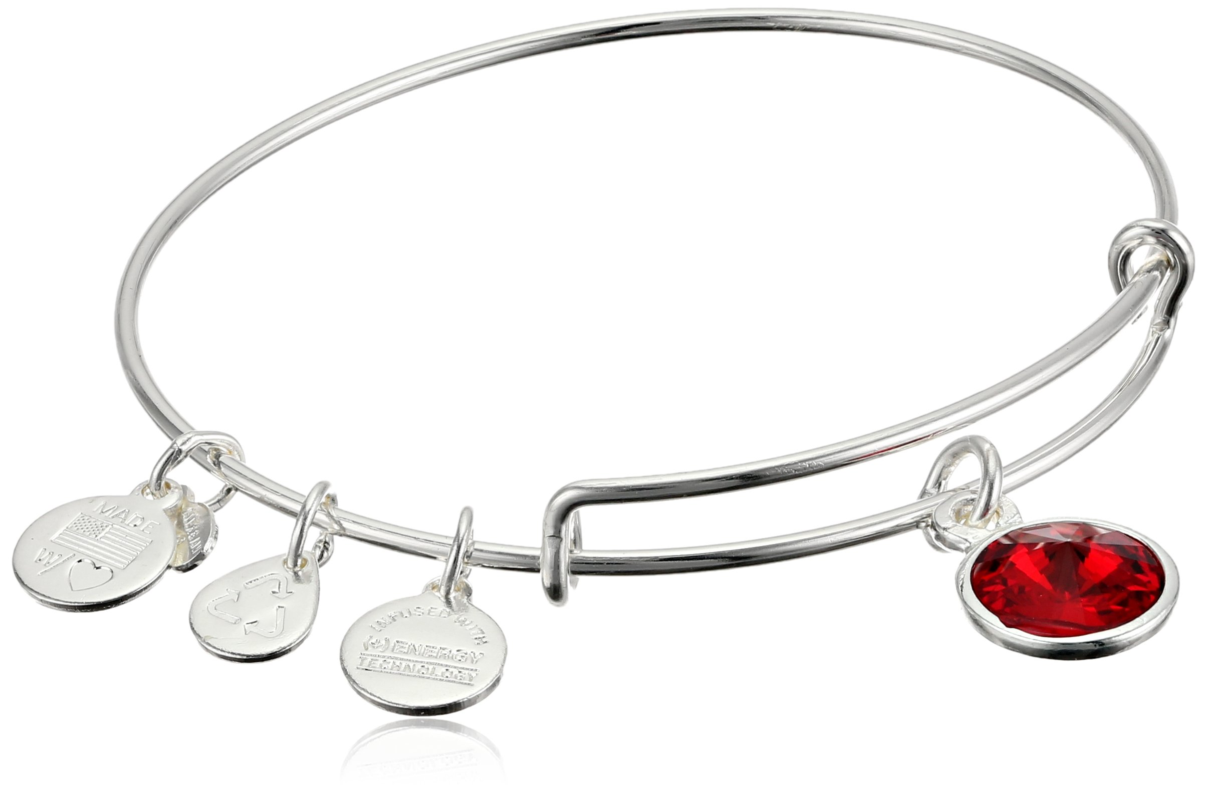 Alex and Ani ''Bangle Bar'' July Imitation Birthstone Shiny-Silver Tone Expandable Bracelet