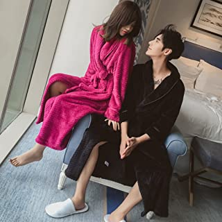 WSY Chemise de Nuit Femmes Hiver Couple Plus Épais Et Plus Long Flanelle Pyjamas Peignoir Peignoir Hommes Corail Cachemire Service à Domicile,Marine,XL