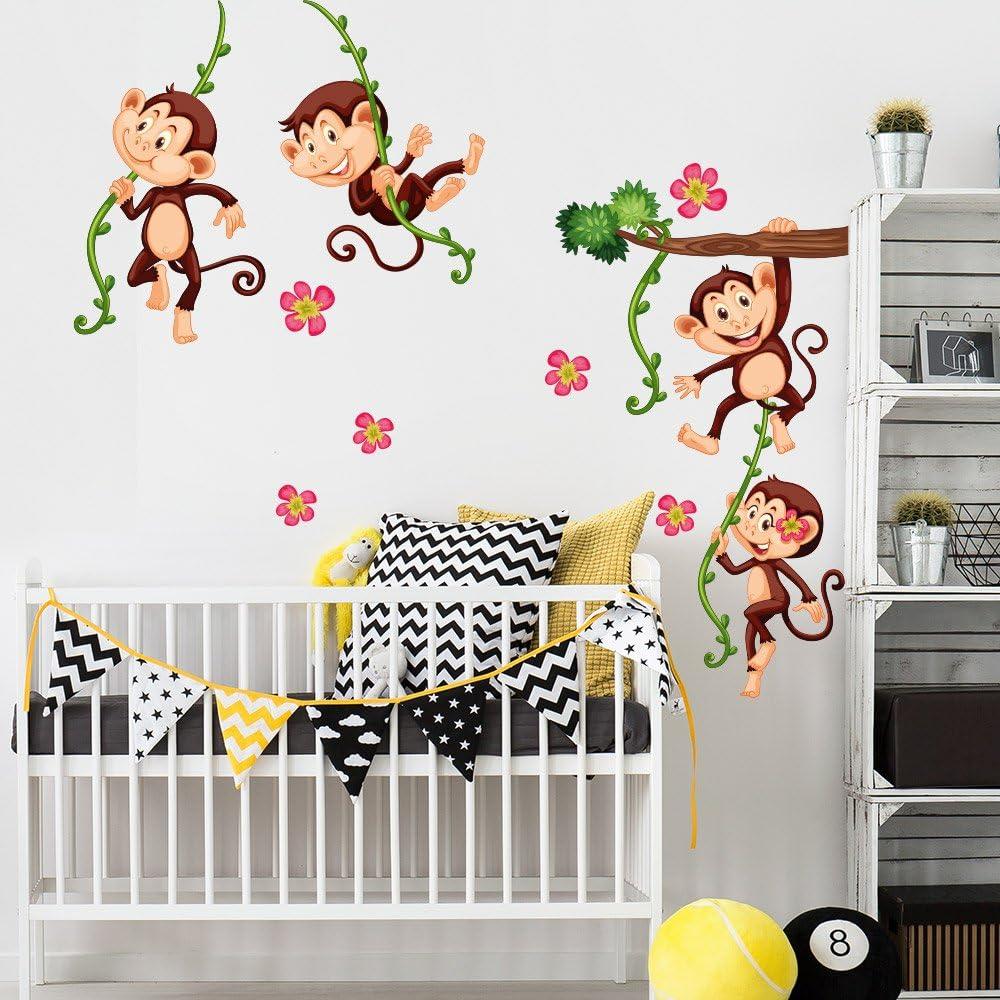 R00379 Pegatina de pared para niños - Monos escalada 2 - Medidas 30x120 cm - Decoración de pared, Pegatinas de pared, Papel pintado