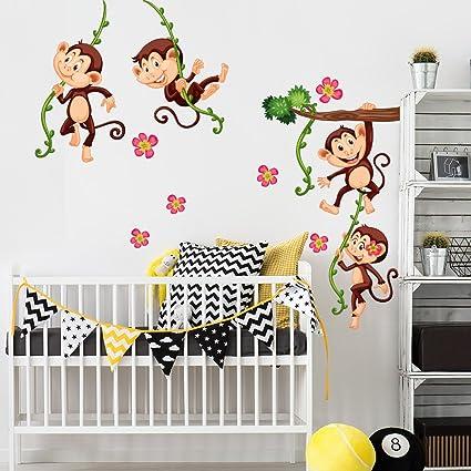 Wall Art R00379 Adesivo Da Parete Per Bambini Scimmia Arrampicata