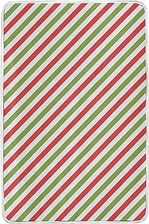 alaza Rosso e Verde Oblique Stripes in Microfibra di Poliestere Coperta del tiro 60' x 90' Leggero Divano Accogliente Blanket Bed Blanket dal Mio Quotidiano