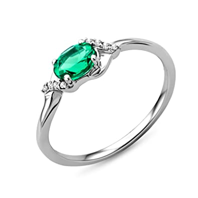 Miore 9ct White Gold women's' Emerald Twist Ring MA975R yar1wQTHT