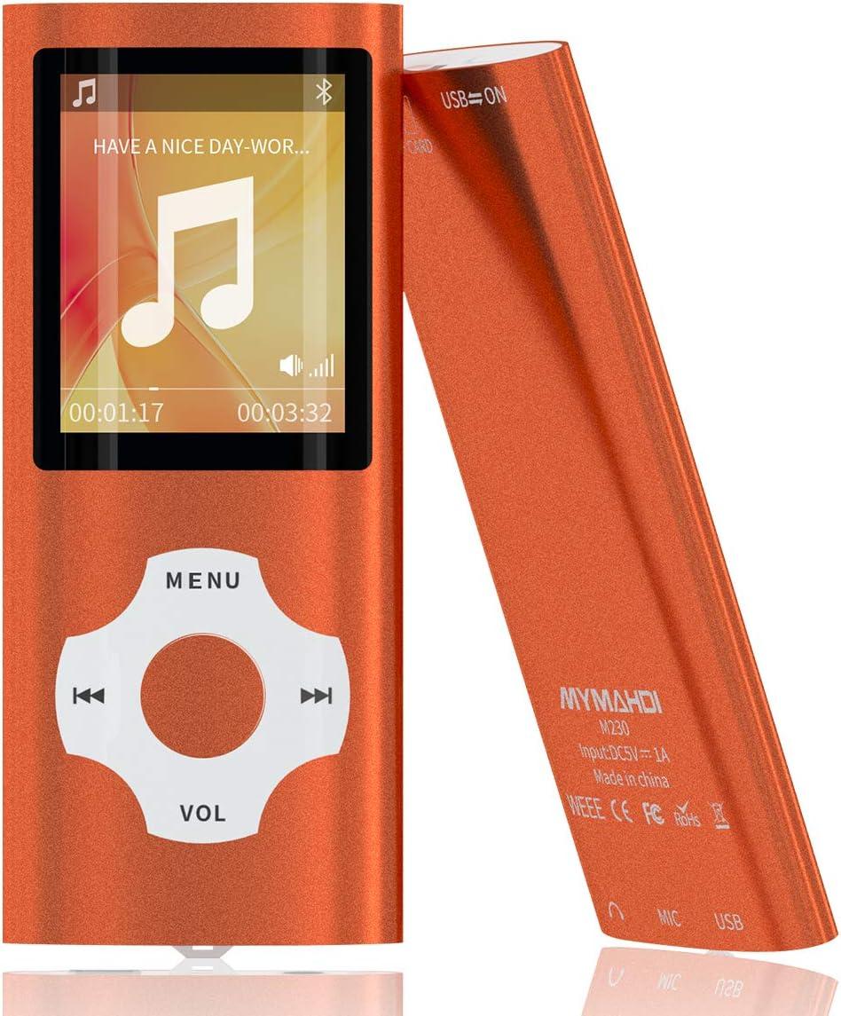 Mymahdi MP3/MP4 Portable Player,1.8 Inch LCD Screen,Max Support 64GB,Orange