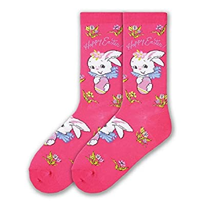 K. Bell Women's Happy Easter with Bunny, Flowers Women's Crew Sock Size: 9-11