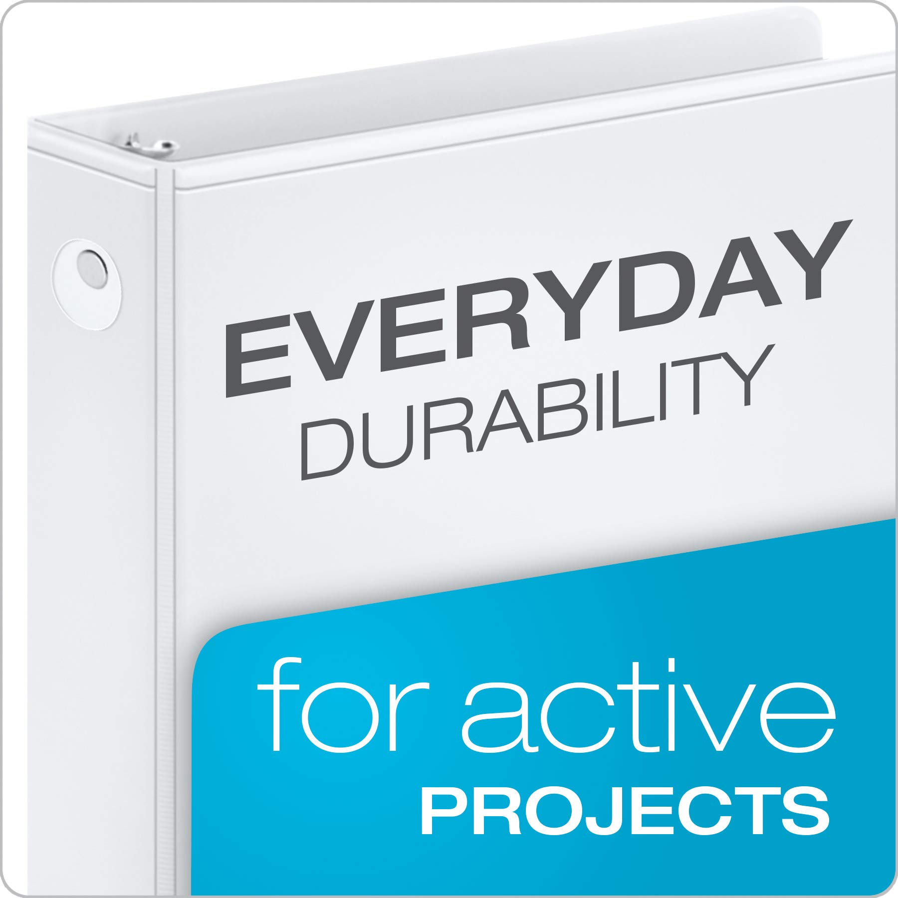Cardinal Economy 3-Ring Binders, 3'', Round Rings, Holds 625 Sheets, ClearVue Presentation View, Non-Stick, White, Carton of 12 (90651) by Cardinal (Image #2)