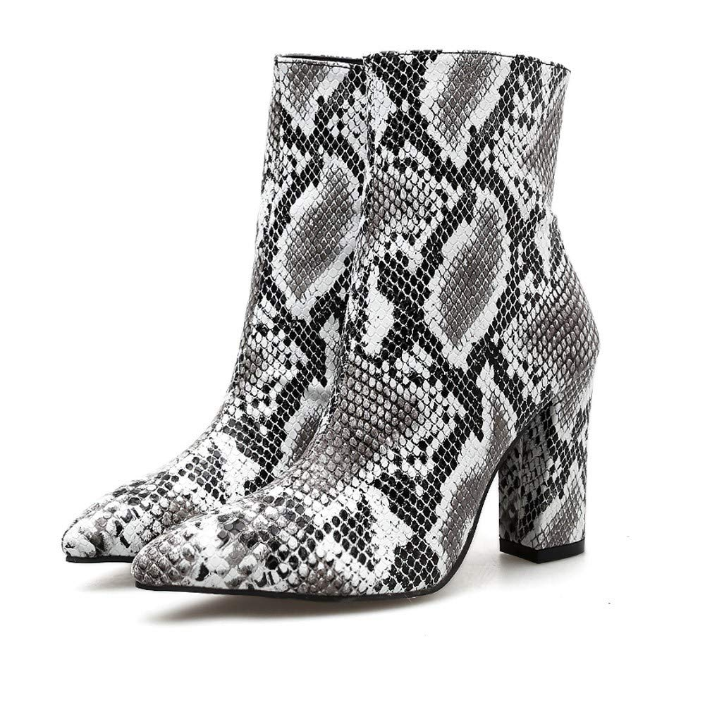 Wllsagl XouwvpmLeather Chunky Heel Boot, Women Snakeskin Leopard Zip Ankle Boots High Heel Thick Pointed Toe Boots by Wllsagl Xouwvpm