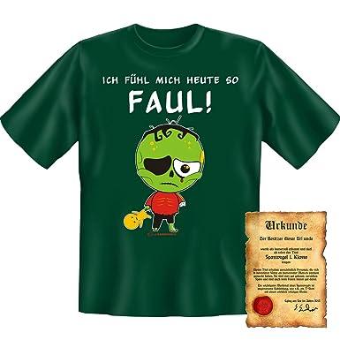 witziges Sprüche T-Shirt + Urkunde: Ich fühl mich heute so faul! - lustiges  Funshirt Geschenk Fun Shirt Herren Geburtstag: Amazon.de: Bekleidung