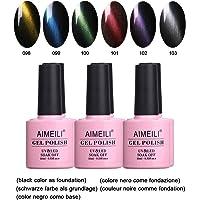 AIMEILI Soak Off UV LED Magnétique Cat Eye Range Vernis à Ongles Gel Semi-Permanent Lot Color Mix / Multi-Colored Kit Set Ensemble de Couleurs 6 X 10ml (SET6-27)