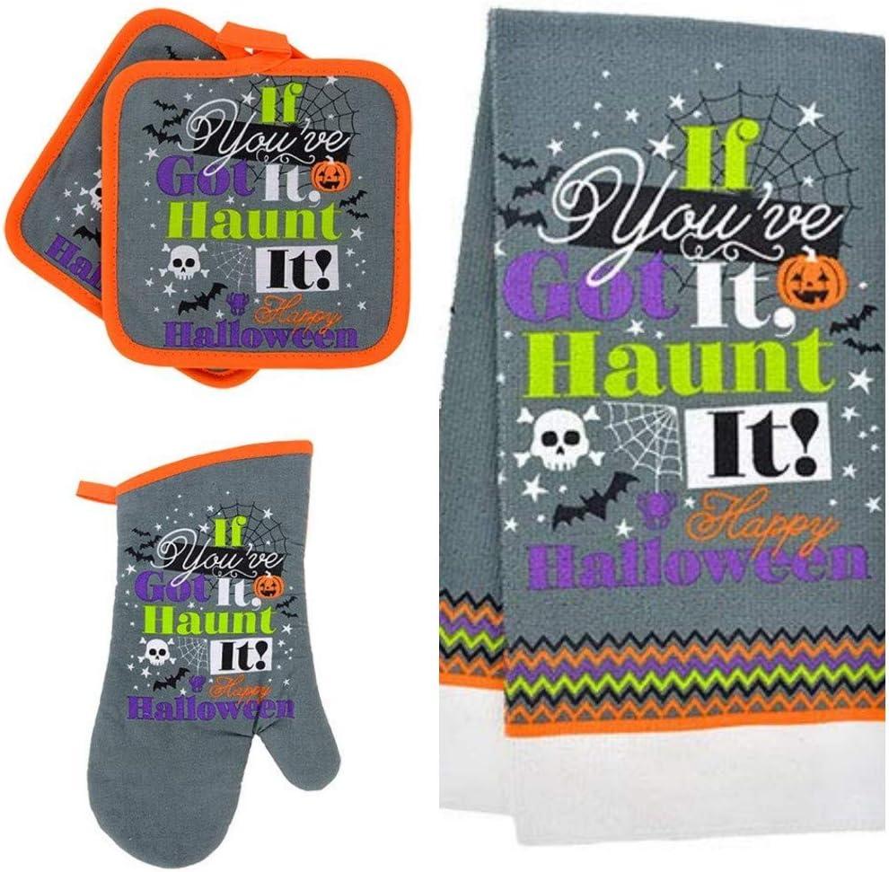 GBI Happy Halloween Oven Mitts, Pot Holders and Halloween Hand Towels Set