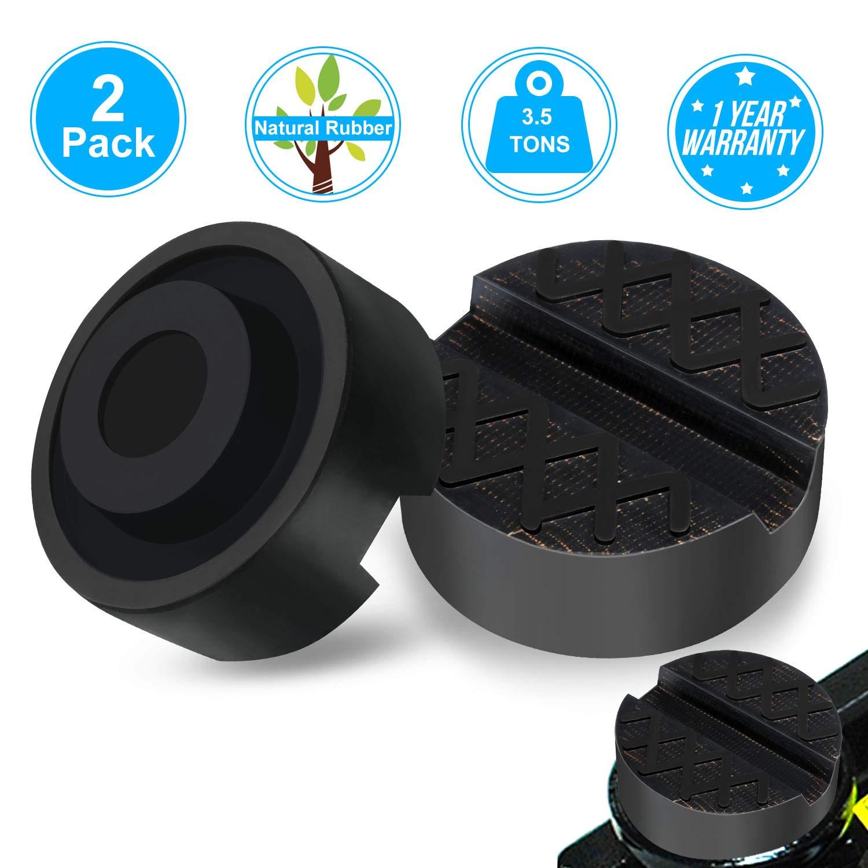 InnovIdea Tampone in Gomma per Cric Sollevatore Auto Ponte con Scanalatura Evita Graffi Danni Dura Resistente Universale Jack Pad 65mm X 33mm - 2 Pezzi(3.5t)